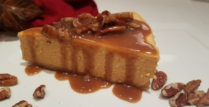 Pumpkin Cheesecake with Bourbon Pecan Sauce